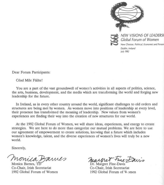 1992 letter from co chairs
